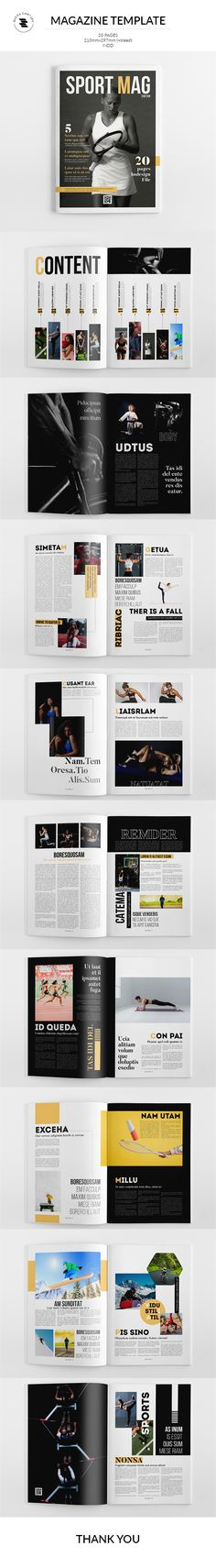 Buy Magazine Template by on GraphicRiver. The Magazine The Magazine. This layout is suitable for any project purpose. Magazine Template, Photo Displays, Branding, Portfolio Layout, Magazine Editorial, Brand Guidelines, Lettering, Templates, Sport