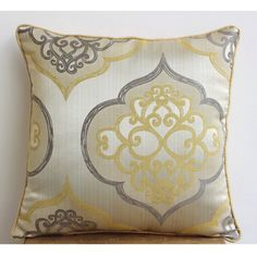 Luxury Yellow Throw Pillows Cover 16x16 Jacquard by TheHomeCentric