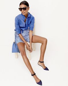 J.Crew women's perfect shirt in cotton-linen, lightweight short in gingham linen, Betty sunglasses and pom-pom ankle strap flats.