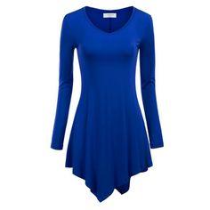 Women Hem Line Long Sleeve Lightweight Knitting Tunic Tops T-shirts Mutilcolors #Affiliate