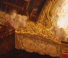 Versailles.Ostrich plumes on the tallest bed I've ever seen!! You had to climb up a big stool to get into the bed.