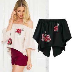 Summer Women Blouse & Shirts Fashion Off Shoulder Back Split Sexy Shirt Ruffles Top Crop Short Sleeve Chiffon Blouse