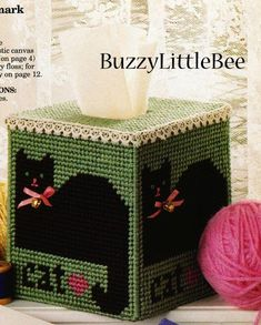 Plastic Canvas Tissue Box Patterns | Plastic Canvas Pattern Victorian Cat Tissue Box Cover | eBay