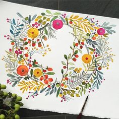 """@carolynj's photo: """"I find these wreaths so fun and light to paint. #holiday #wreath #flowers #watercolor #paint #celebrate #berries"""""""