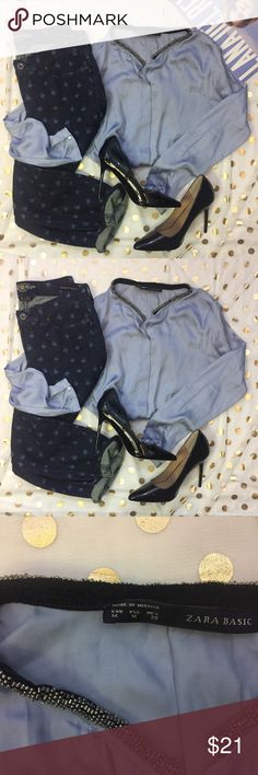 Zara Silky Blue Beaded Collar Blouse Size Medium This blouse is super soft and silky. It's in great condition and is very stylish! It is such a fun Top that can be dressed up or down. This top is classy and perfect for the holiday seasons coming up! Zara Tops Button Down Shirts