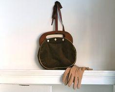 Vintage Brown Velvet Purse