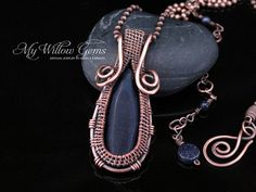 Wire Wrapped Blue Goldstone Necklace Copper and от MyWillowGems