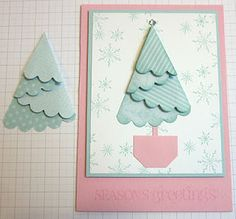 Stampin' Up UK Demonstrator Sarah-Folded Tree Tuorial Christmas Tree Cards, Xmas Cards, Holiday Cards, Christmas Crafts, Xmas Tree, Greeting Cards, Stampin Up, Card Making Techniques, Card Tutorials