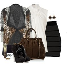 Leopard Print Cardigan, created by fantasy-closet on Polyvore
