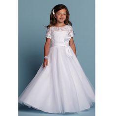 0d8fcfe6605 White Short Sleeves Floor Length A Line Flower Girl Dresses with Bow Child  Tulle