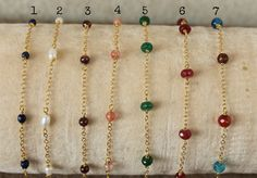 A personal favourite from my Etsy shop https://www.etsy.com/listing/508962531/delicate-gemstones-bracelet-gold-chain