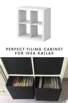 IKEA filing cabinet: At last, an easy, perfect solution Home office with IKEA filing cabinet. IKEA KALLAX hanging file storage unit.