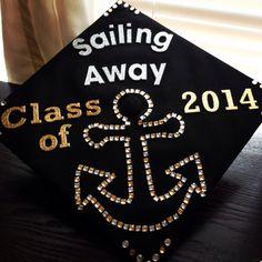 Graduation cap idea. Sailing away. Anchor.