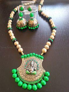 Long Ganesha Terracotta jewelry Gold and neon por NIRMITY en Etsy