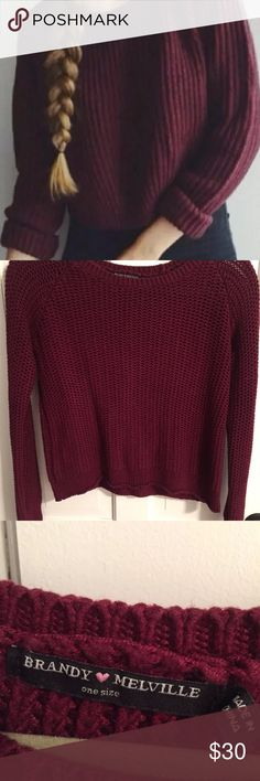 Brandy Melville scoop neck sweater Burgundy sweater. Can fit xs also Brandy Melville Sweaters Crew & Scoop Necks