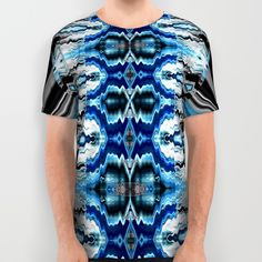 Sela Blue All Over Print Shirts