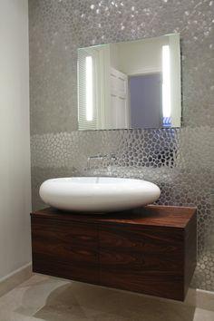 faucet handles Bathroom Contemporary with bowl sink floating vanity gray metal mirror pebble pebbled reflective sculptural sink
