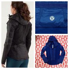 "Lululemon Run: Bundle Up jacket Limitless blue. Small fabric defect 1/4"" - 1/2"" long - see photos. Minus defect this jacket is in excellent preloved  condition. Removable hood part of Luxchange technology can be zipped into other Luxchange friendly products. Cozy, high loft stretch fleece. Goose down. Reflective details. Body skimming. Water resistant panels at the hem, sleeves and front. No trades. No PayPal. lululemon athletica Jackets & Coats"