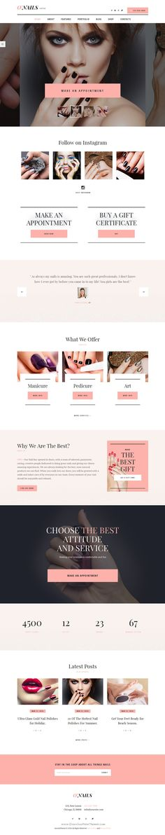 O'Nails WordPress theme is created especially for #Nail Bar, but it can be perfectly suitable for any kind of beauty service, such as: Makeup Bar, Brow Bar, Spa, Hair or Massage Center and Barber salon #website. #nailart
