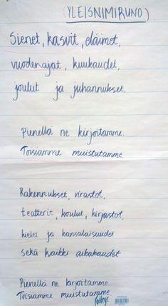 Yleisnimiruno. Grammar, Fun Facts, Texts, Literature, Language, Classroom, Teaching, Writing, School