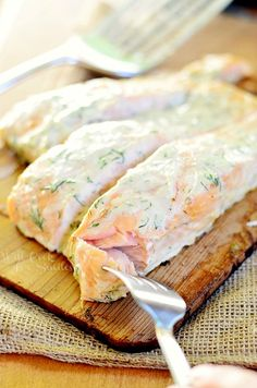 Cedar Plank Salmon with Creamy Lemon Dill Sauce