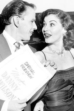 "missavagardner: "" Frank Sinatra & Ava Gardner at the 'Meet Danny Wilson' premiere in 1951. """
