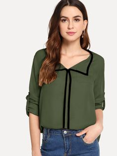Classy Top Regular Fit Collar Long Sleeve Roll Up Sleeve Pink Regular Length Contrast Binding Roll Tab Sleeve Top Shein Dress, Spring Shirts, Roll Up Sleeves, Green Fashion, Size Model, Casual Tops, Female Models, Types Of Sleeves, Outfit