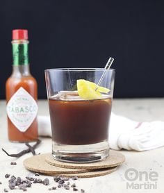 Newer Iberia : a campari rum cocktail with a Tabasco porter syrup. A strong, dark dessert cocktail for those who like a little spice in life. Rum Cocktail Recipes, Cocktail Desserts, Cocktails, Drinks, Syrup, Martini, Liquor, Spices, Bottle