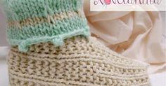 Olá.  Hoje temos mais uma receita exclusiva Novelândia para vocês! É uma pantufa muito quentinha , feita em tricô com fio duplo exatamente p...