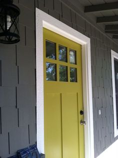 Grey House with Yellow Front Door Design Ideas Pictures | http://myhomedecorideas.com/grey-house-with-yellow-front-door-design-ideas-pictures/