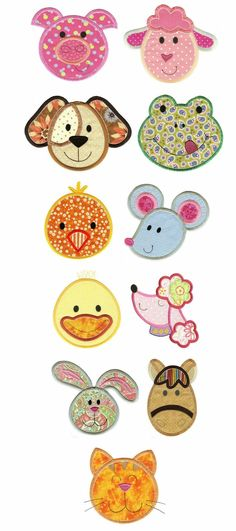Embroidery | Free Machine Embroidery Designs | Cute Animal Faces Applique Set 1: