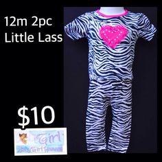 12m Little Lass Baby Girl Zebra & Heart 2pc Legging Set