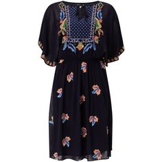 Somerset by Alice Temperley Embroidered Leaf Dress (2.253.110 IDR) ❤ liked on Polyvore featuring dresses, floral print dress, evening dresses, maxi dresses, print maxi dress and blue cocktail dresses
