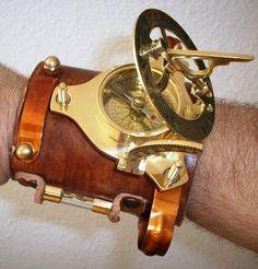 Items similar to CUSTOM steampunk armlet bracelet sundial & compass + FREE BONUS: laser-cut Coppersmith Design necklace on Etsy Steampunk Clock, Steampunk Gadgets, Steampunk Watch, Steampunk Cosplay, Steampunk Clothing, Steampunk Fashion, Steampunk Images, Steampunk Design, Larp