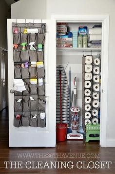 Slip your cleaning supplies into the pockets of a shoe organizer. An over-the-door shoe organizer can hold all of your sprays, wipes, and scrubbing brushes. Organisation Hacks, Closet Organization, Kitchen Organization, Cleaning Supply Organization, Diy Organizer, Door Shoe Organizer, Over The Door Organizer, Declutter Your Home, Organizing Your Home