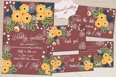 Botanical wedding set by abooza on @creativemarket
