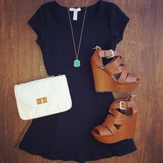 Navy a-line dress.  White bag. Brown wedges. Statement necklace. Stitch fix spring summer 2016.  Stitch fix fashion trends. Want!