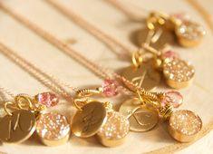 Druzy Initial Necklace, Gold and Pink Initial Druzy, Wedding Party Necklace, Druzy Jewelry,  Sparkling Druzy Jewelry, Bridal Ideas on Etsy, $68.00