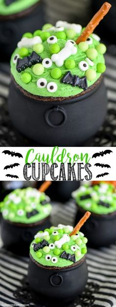 Cauldron Cupcakes -Hosting a Halloween party this year or need a cute and easy treat idea? These Cauldron Cupcakes are perfect for parties and easy to make with kids. MichaelsMakers A Pumpkin And A Princess