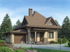 Экономичный мансардный дом с гаражом