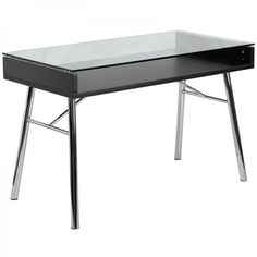 Flash Furniture Brettford Modern/Contemporary Clear Computer Desk at Lowe's. You'll have people doing a double take when they see this open glass table desk. This modern writing desk impresses with its high style and working