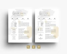Cloé Smith Digital Template - Résumé - Business card - CV - Cover letter - Grey/Gold - Editable PSD File - Fonts Included - Digital Goods