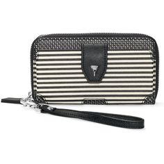 Stella & Dot Madison Tech Wallet - Black/Crème Breton Stripe ($79) ❤ liked on Polyvore featuring bags, wallets, coin purse wallets, coin change purse, credit card holder wallet, coin purse and coin case