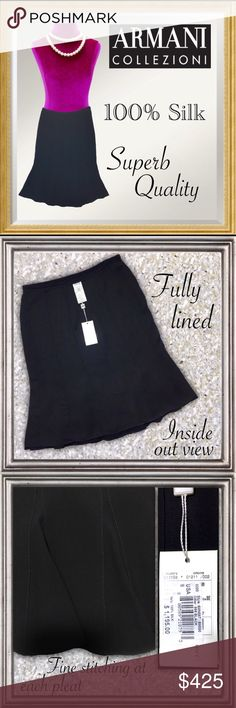 """ARMANI couture Black 100% Italian Silk Godet skirt Beautiful Black High-end 100% Italian Silk skirt made by Armani Collezioni (Collection). Side zip closure with button/tab. Waist sits at top of hips. Fitted through hip; fluted silhouette flares at the bottom with inset Godets (triangular sections for added fullness at hem). Finely stitched garment as expected from a high-end designer. Fully lined.  Length: 24"""" Waist:  31""""  New with attached tag and authenticity card. Dry clean-short cycle…"""