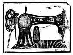 "VINTAGE ""flying dove"" SEWING MACHINE linocut on etching paper"