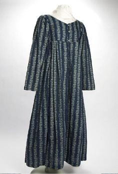 Blue cotton calico dress of Elizabeth Hinterleiter Keesacker, ca. 1815 to 1825. Keesacker was a Virginia native who moved to St. Louis in the early 1800s.   Missouri History Museum #vintage #vintagefashion