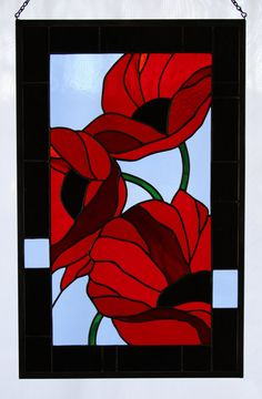 Very strong design here. Like the broken up frame, it stops it being so contained somehow. Red Poppies In Flanders Fields Stained Glass by stainedglassturtle, $495.00