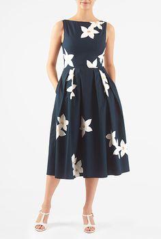 Floral applique cotton poplin dress #eShakti