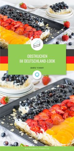 Deutschland-Obstkuchen für die Fußball WM #fußball #kuchen #wm #snacks #wmsnacks #fußballabend #fingerfood #partyfood #kuchen #backen #rezepte #lecker #wm2018 #wm18 #russland2018 #fußballparty
