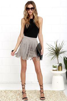 BB Dakota Pearl Taupe Suede Fringe Mini Skirt at Lulus.com!